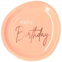 Happy Birthday 8 Pappteller Elegant blush roségold