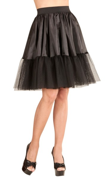 Black petticoat skirt satin and tulle