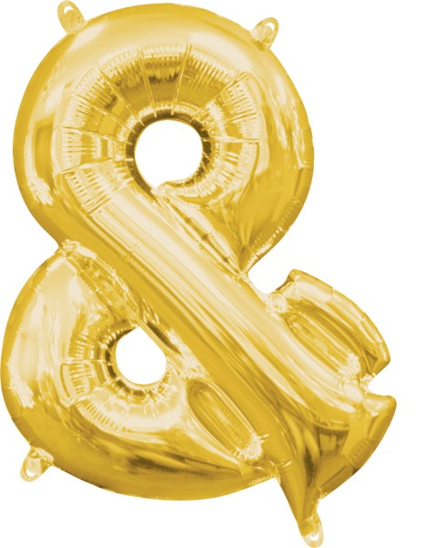 Mini foil balloon symbol & gold 35cm