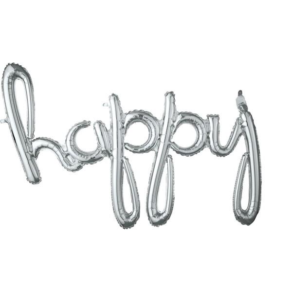 Silberner Happy Schriftzug 99 x 68cm
