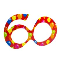 Partybrille 60 Balloons rot