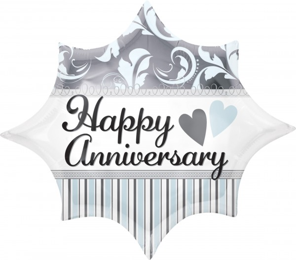 Happy Anniversary Ballon blue feather