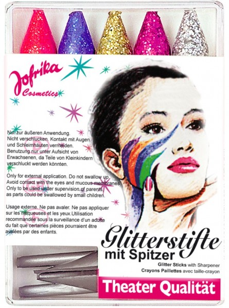 5 glitter make-up pencils with sharpener