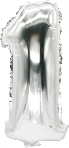 Folienballon Zahl 1 silber 43cm