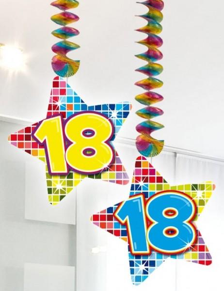 2 Spiralhänger mit Sterne 18. Geburtstag 1