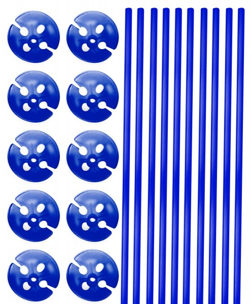 10 balloon sticks with holder blue