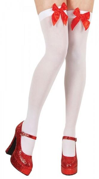 Gambaletti bianchi con fiocco rosso