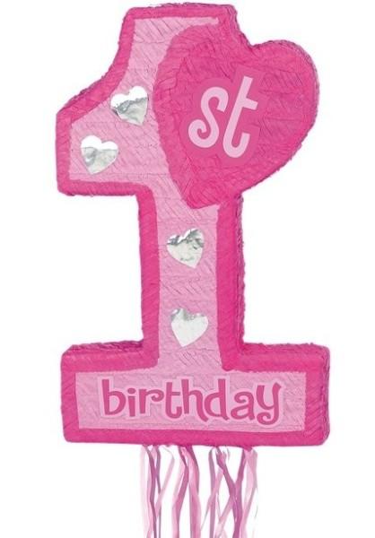 1st Wonderful Birthday Pinata rosa