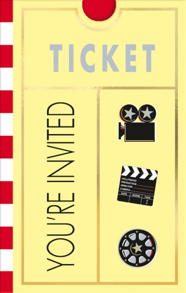 Hollywood Party Kino Ticket Einladungskarte