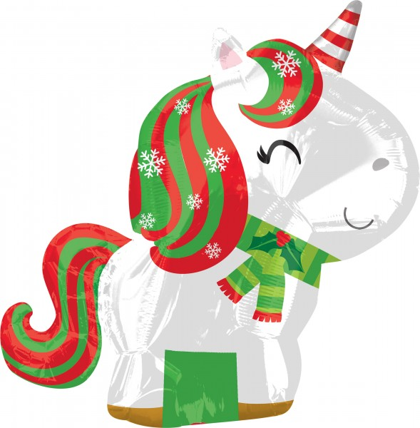 Christmas unicorn foil balloon 43 x 53cm