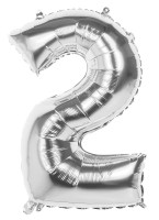 Folienballon Zahl 2 silber metallic 86cm