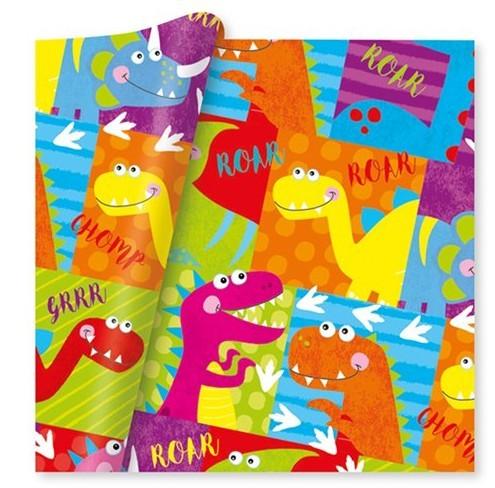 Papier d'emballage dinosaure coloré 2m