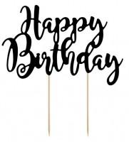 Schwarze Happy Birthday Tortendeko 22,5cm