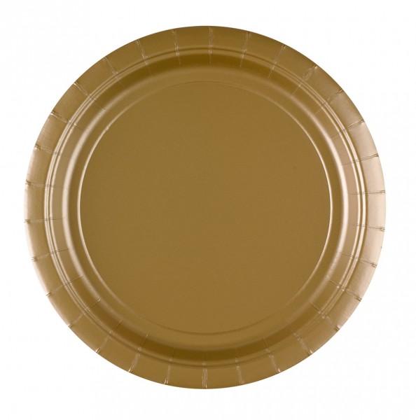 8 assiettes en carton Partytime Gold 22.8cm