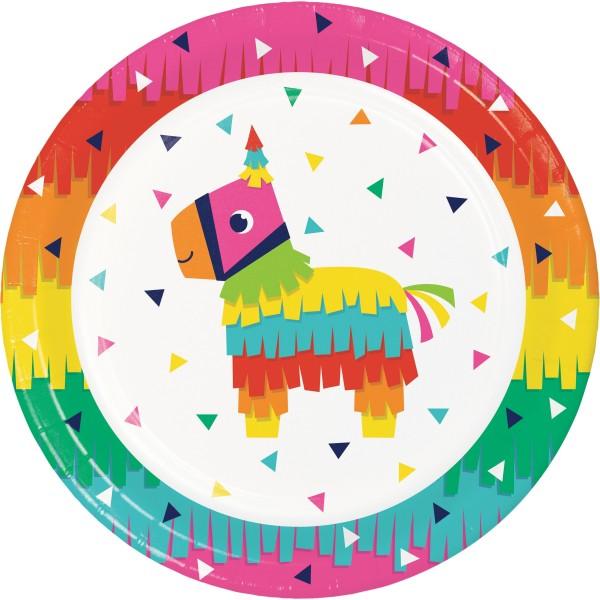 8 Rainbow Fiesta Pappteller 23cm