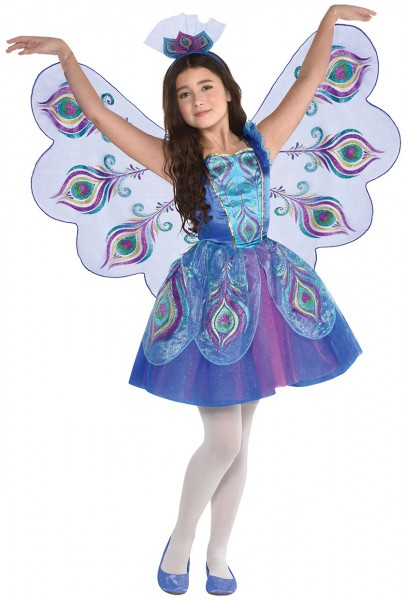 Disfraz de pavo real brillante para niña