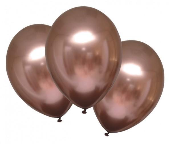 6 globos de satén brillante oro rosa 27,5cm