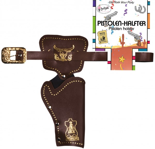 Gun holster cowboy brown-gold