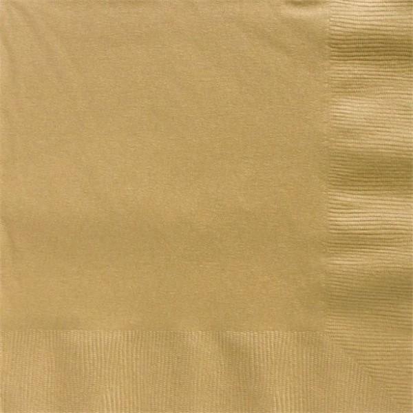 50 serviettes en papier doré 2 plis 50cm