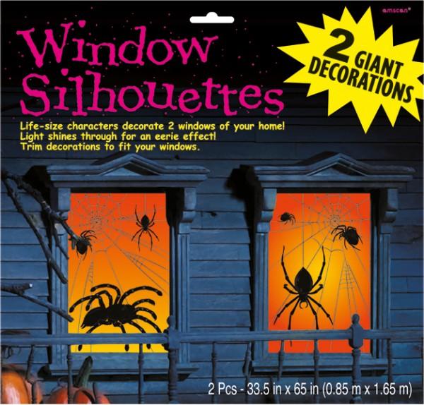 XXL Spinnennetz Halloween Fenster Silhouetten 2 Stück