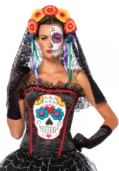 Day of the dead corset with lace