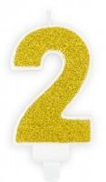 Goldschimmer Tortenkerze Zahl 2