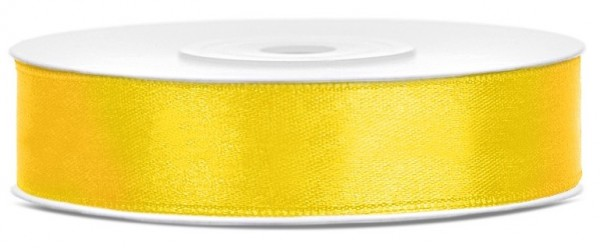 Ruban satin jaune 25m largeur 12mm