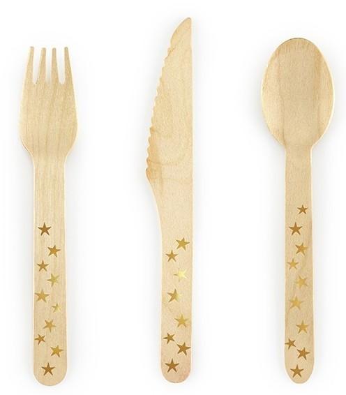 6 posate in legno stelle dorate 16 cm