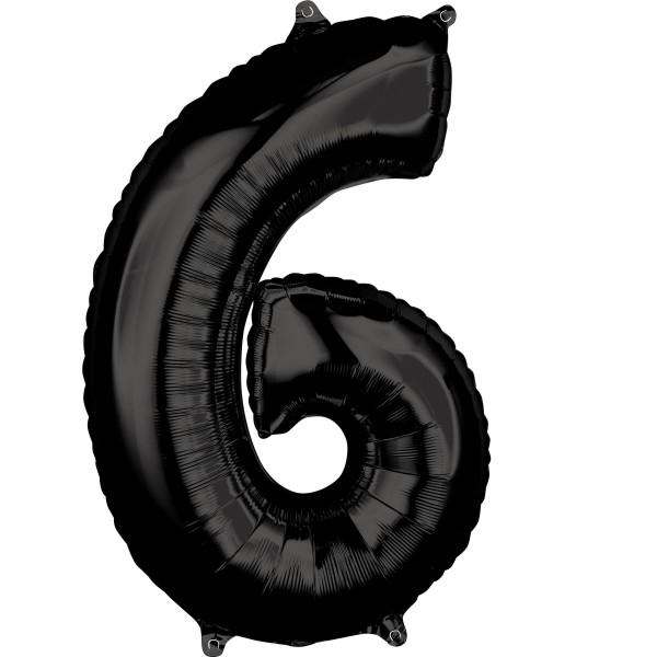 Schwarze Zahl 6 Ballon 66cm