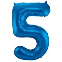 Folienballon Zahl 5 blau 86cm