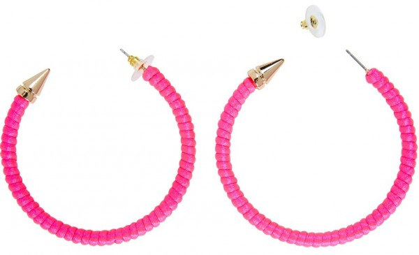 Neon pink party hoop earrings
