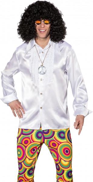 Camisa de hombre blanca con volantes en raso