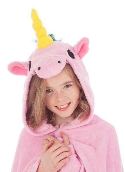 Einhorn Poncho für Kinder rosa