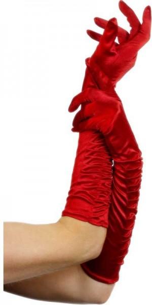 Guanti di velluto rosso 46cm