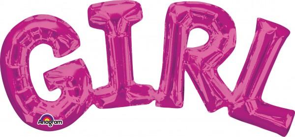 Balon foliowy z napisem Girl pink 55x25cm