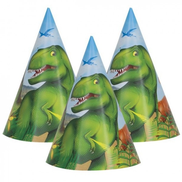 8 Dino Abenteuer Partyhüte 15cm