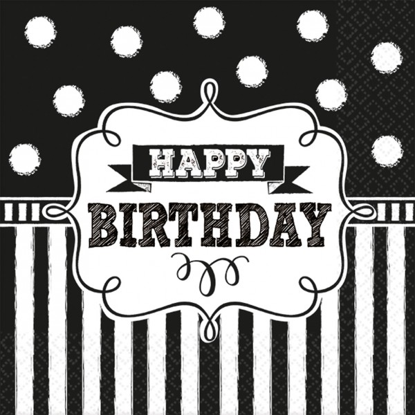 Happy Birthday Serviette Schwarz-Weiß Gestreift 16er Set 1