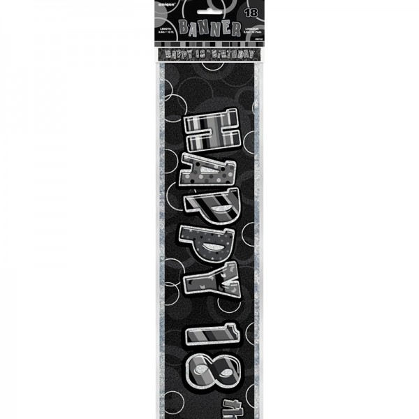 18. Geburtstag Black And White Party Banner 360cm