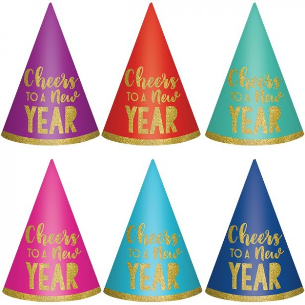 6 Colorful New Year party hats 16cm