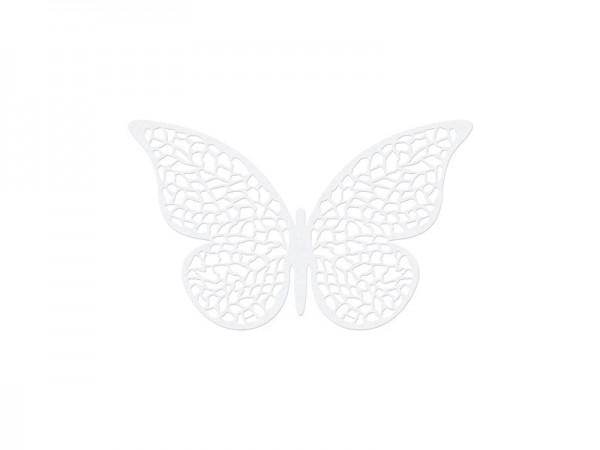 10 papillons décoration papier blanc nacré