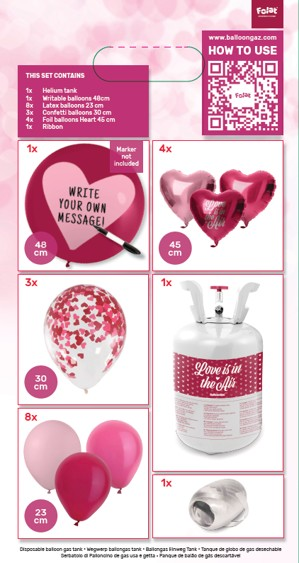 Valentinstag Heliumflasche mit Ballons