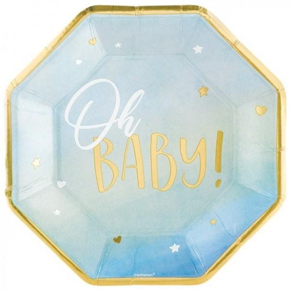 8 platos de papel Oh Baby azul 25cm
