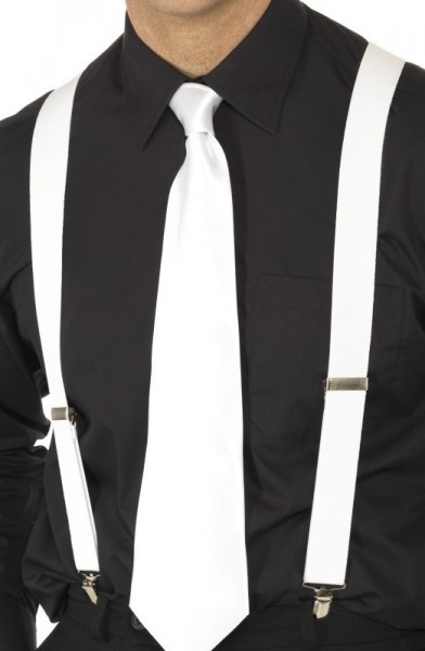 Plain white suspenders