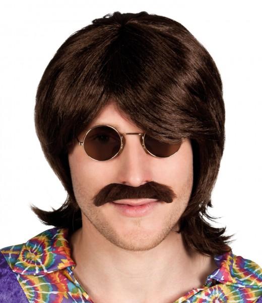 Perruque hippie en éponge marron avec moustache