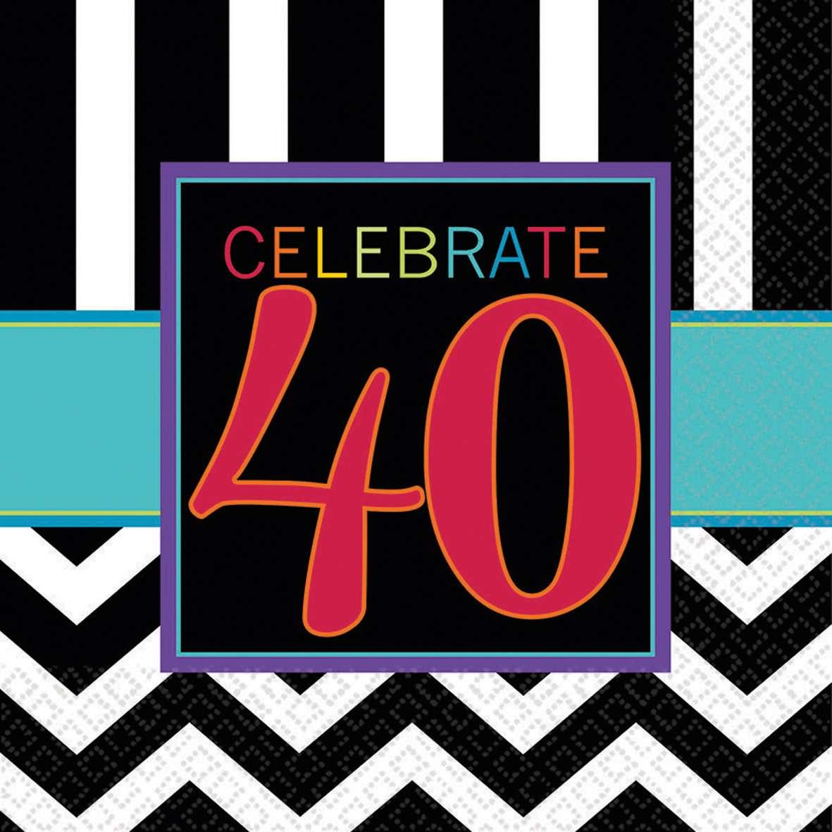 16er Set 40 Geburtstag Servietten Schwarz Weiss Party De