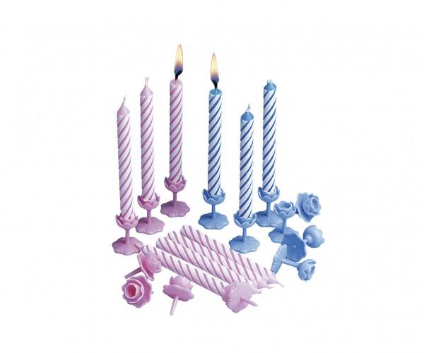12 Blue Birthday Tortenkerzen Inklusive Halterungen 7,5cm