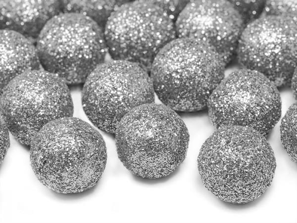 25 Glitzer-Dekobälle in silber 2cm