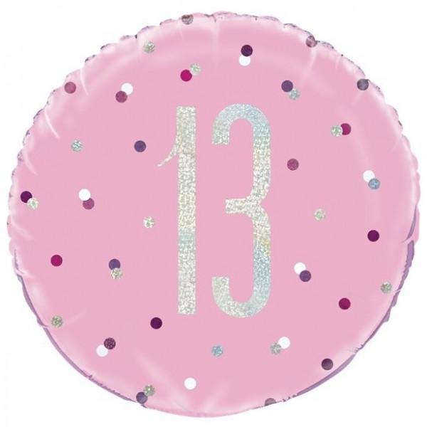 Palloncino foil 13 ° compleanno punti rosa 46cm