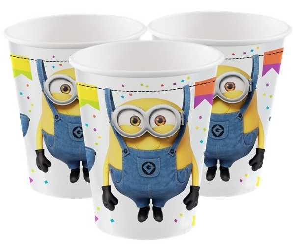 8 Hooray Minions Pappbecher 250ml