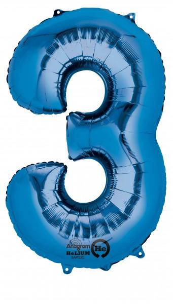 Zahlenballon 3 Blau 88cm
